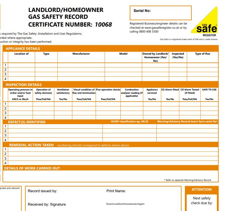Landlord Gas certificate
